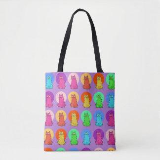 sweet cats festive color multiple tiled pattern tote bag