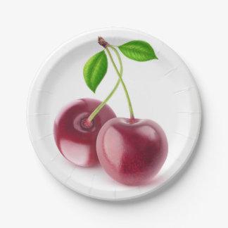 Sweet cherries paper plate