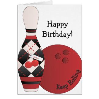Sweet Cherry Argyle Bowling Design Card