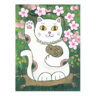 Sweet Cherry Blossom Neko Postcard