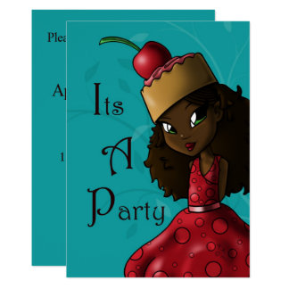 """Sweet Cherry Cake Iman Birthday Invitation"" 5""x7"" Card"