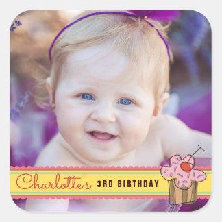 Sweet Cherry Cupcake Girl's Birthday Photo Sticker