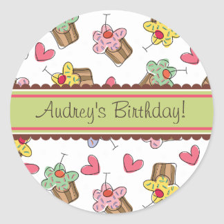 Sweet Cherry Cupcakes Birthday Gift Label Sticker