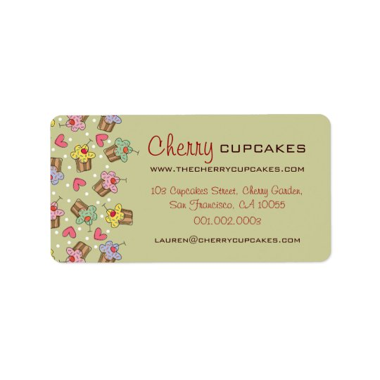 Sweet Cherry Cupcakes Confectionery Bakery Cute Address Label