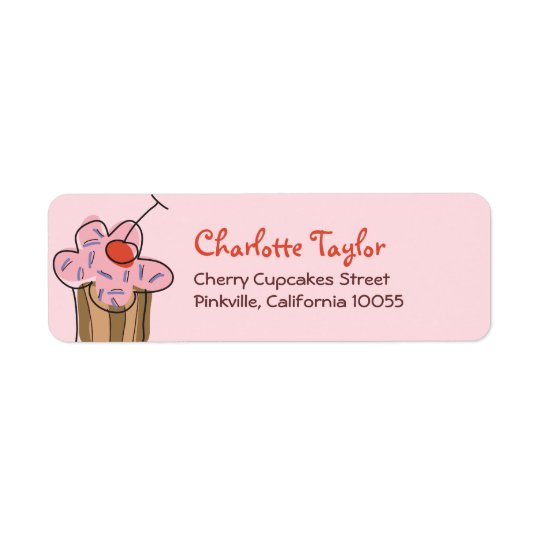 Sweet Cherry Cupcakes Confectionery Bakery Cute Return Address Label