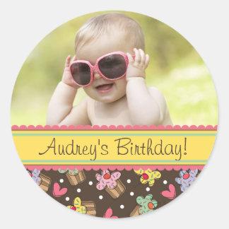 Sweet Cherry Cupcakes Girl Birthday Photo Sticker