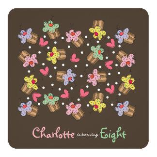 "Sweet Cherry Cupcakes Kids Birthday Invitation 5.25"" Square Invitation Card"