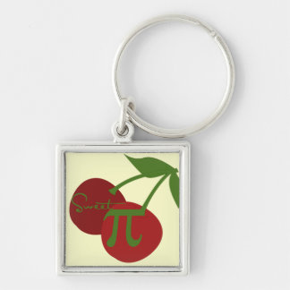 Sweet Cherry Pi Day Silver-Colored Square Key Ring