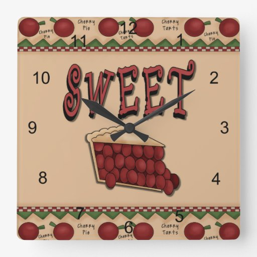Sweet Cherry Pie with Cherries Border Square Wall Clock