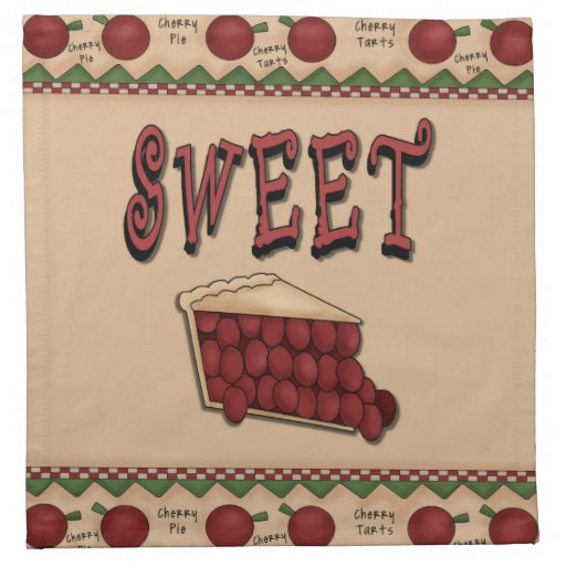 Sweet Cherry Pie with Cherries Border Printed Napkin