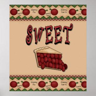 Sweet Cherry Pie with Cherries Border Poster