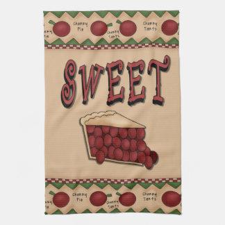 Sweet Cherry Pie with Cherries Border Tea Towel