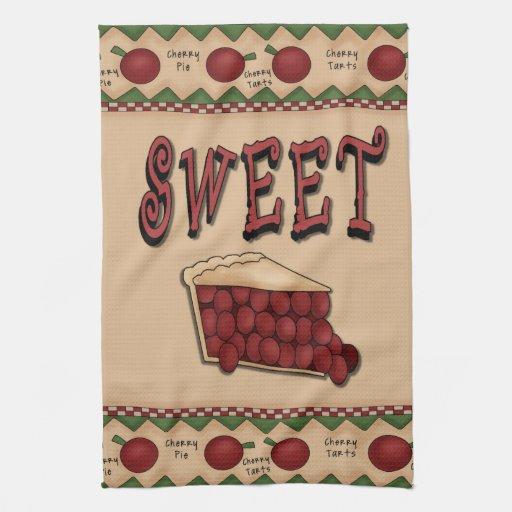 Sweet Cherry Pie with Cherries Border Hand Towel