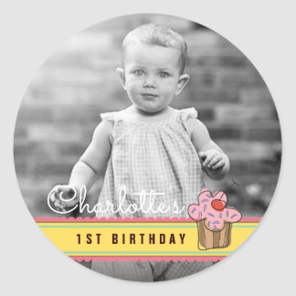 Sweet Cherry Pink Cupcake Birthday Photo Sticker