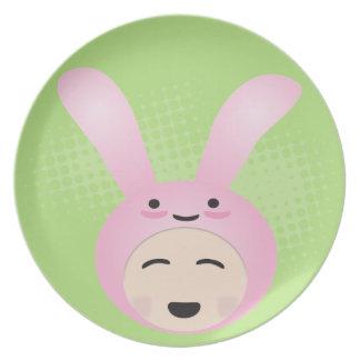 Sweet Chibi Bunny Rabbit Decorative Plate