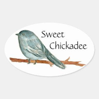 Sweet Chickadee Bird Watercolor Illustration Oval Sticker