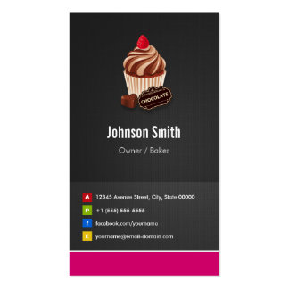 Sweet Chocolate Cupcake Pastry Bakery Pack Of Standard Business Cards