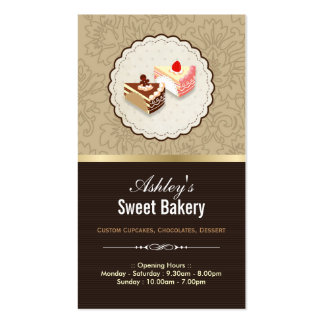 Sweet Chocolates Cupcakes Dessert - Bakery Shop Pack Of Standard Business Cards