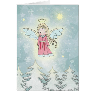 Sweet Christmas Angel above the Trees Card