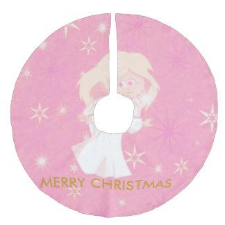 sweet christmas angel pink faux linen tree skirt