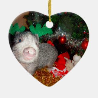 Sweet Christmas Mini Pig Heart Ornament