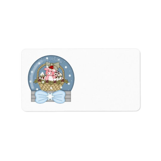 Sweet Christmas Pig in A Basket Snowglobe Label