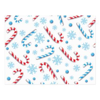 Sweet Christmassy Candy Bar Pattern Postcard
