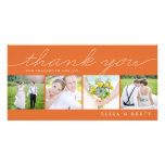 Sweet Collage Wedding Thank You Cards - Orange Picture Card