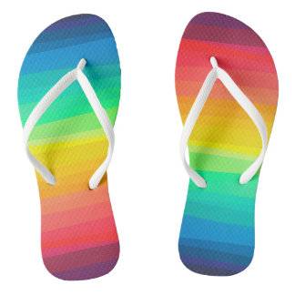 Sweet Colored Stripes Background Flip Flops Thongs