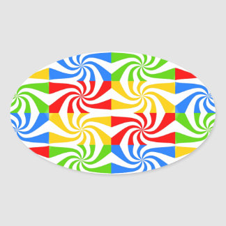 Sweet Colorful Abstract Image Oval Sticker