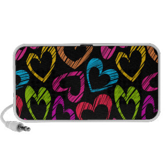 Sweet colorful doodled hearts Doodle Speakers