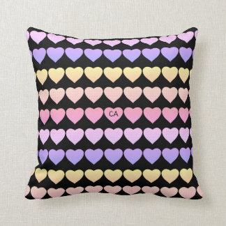 Sweet Colorful Hearts with Initials Cushion