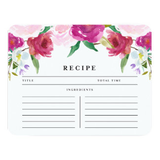 Sweet Country Rose | Recipe Card 11 Cm X 14 Cm Invitation Card