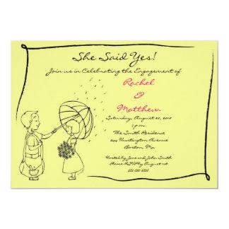 "Sweet Couple in the Rain Engagement Invitation 5"" X 7"" Invitation Card"