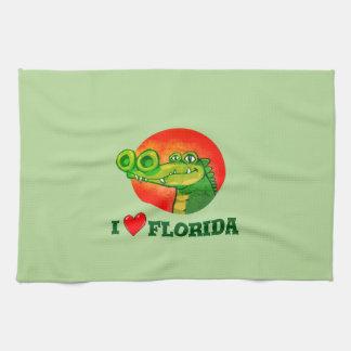 sweet crocodile funny cartoon i love florida tea towel