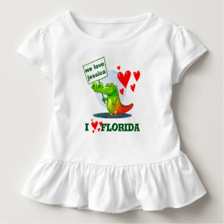 sweet crocodile funny cartoon i love florida toddler T-Shirt