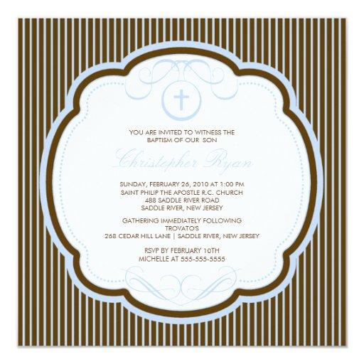 Sweet Cross Blue & Brown Boy Baptism Inviation 13 Cm X 13 Cm Square Invitation Card