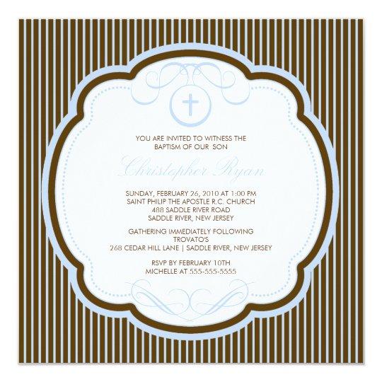 Sweet Cross Blue & Brown Boy Baptism Inviation Card