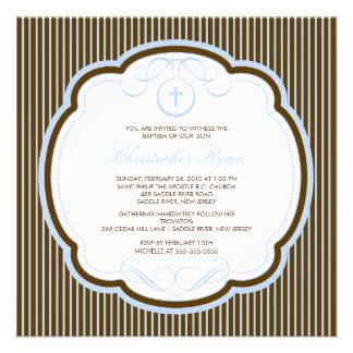 Sweet Cross Blue & Brown Boy Baptism Inviation Custom Invitations