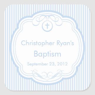 Sweet Cross In Frame Baptism Favor Seal Boy Blue