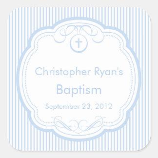 Sweet Cross In Frame Baptism Favor Seal Boy Blue