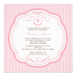 Sweet Cross Pink Baby Girl Baptism Inviation Announcements