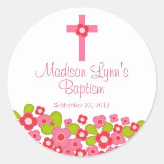 Sweet Cross Pink Floral Baptism Favor Seal