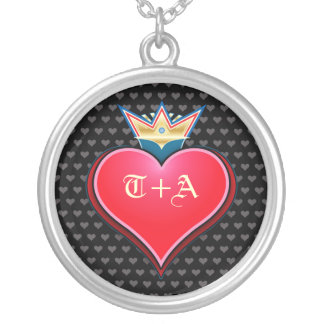 Sweet Crown Heart Customize Initials Necklace