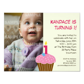 Sweet Cupcake 1st Birthday Party Invitation