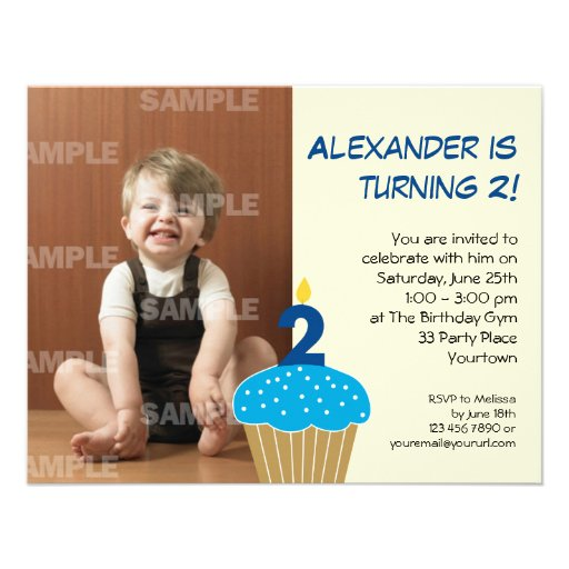 Sweet Cupcake 2nd Birthday Party Personalized Invitation