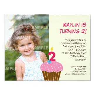 Sweet Cupcake 2nd Birthday Party Invitation