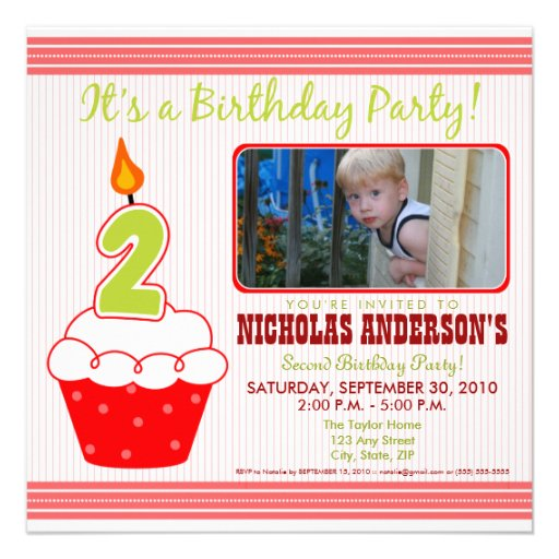 Sweet Cupcake 2nd Birthday Party Invitation Red