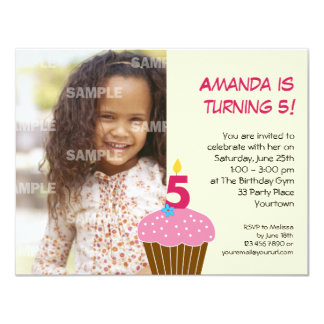 "Sweet Cupcake 5th Birthday Party Invitation 4.25"" X 5.5"" Invitation Card"