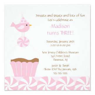 "Sweet Cupcake Birdie Birthday Invitation 5.25"" Square Invitation Card"